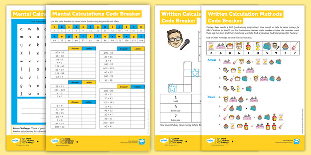 UKS2 BBC Children in Need Code Breaker Maths Differentiated Worksheets