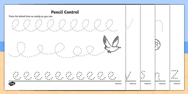 seaside pencil control worksheet activity sheet pack. Black Bedroom Furniture Sets. Home Design Ideas
