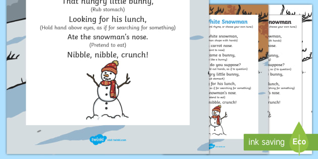 A Little White Snowman Action Rhyme - little white snowman, action, rhyme, little, white, snowman