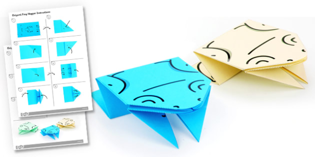 Origami Frog Hoppers Activity Instructions - origami, frog hoppers