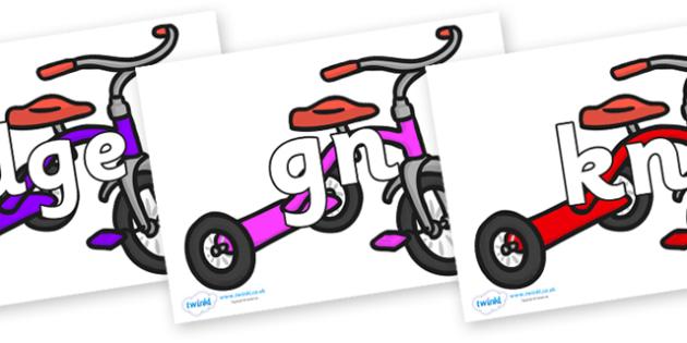 Silent Letters on Trikes - Silent Letters, silent letter, letter blend, consonant, consonants, digraph, trigraph, A-Z letters, literacy, alphabet, letters, alternative sounds