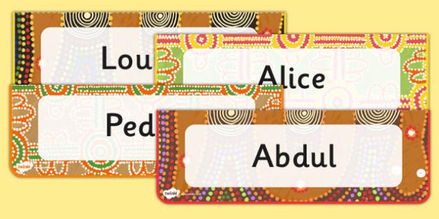 Editable Aboriginal Style Border Desk Labels - australia, border