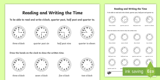 Time Reading Worksheets Worksheets for all | Download and Share ...