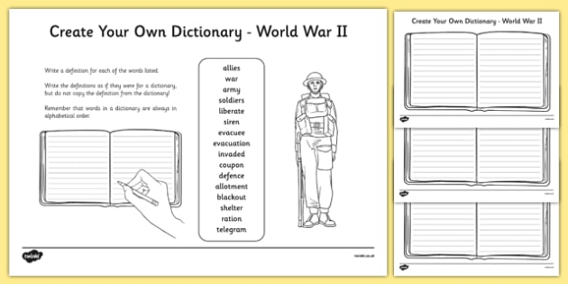 World War II Key Vocabulary Create Your Own Dictionary
