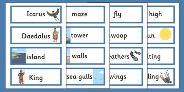 Icarus Word Cards - icarus, word cards, myth, legend, greek, ancient