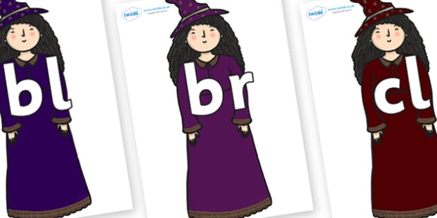 Initial Letter Blends on Witch - Initial Letters, initial letter, letter blend, letter blends, consonant, consonants, digraph, trigraph, literacy, alphabet, letters, foundation stage literacy