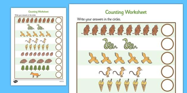 The Gruffalo Counting Sheet - the gruffalo, one to one, 1-1,  counting worksheets, counting, number, numeracy, adding, addition, maths, minus, themed worksheets, gruffalo, add
