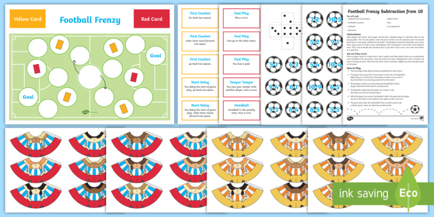 Subtraction From 10 Football Board Game - subtract, world cup