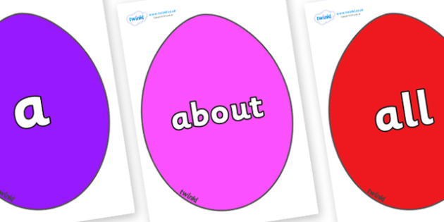 100 High Frequency Words on Easter Eggs (Coloured) - High frequency words, hfw, DfES Letters and Sounds, Letters and Sounds, display words
