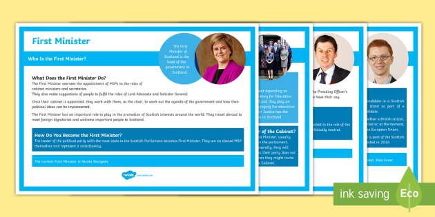 Roles in the Scottish Parliament Information Cards - MSP, First Minister, Cabinet Ministers, Scottish Government, Holyrood