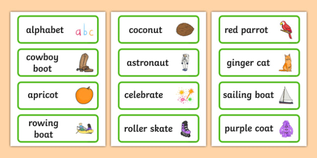 Three Syllable Final T Sound Word Cards - word cards, sound