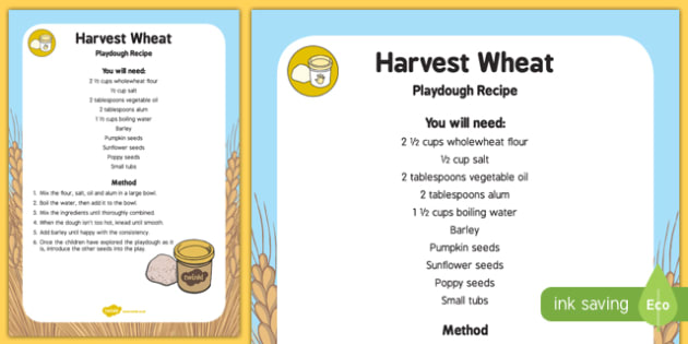 Harvest Wheat Playdough Recipe - modelling, recipe, instructions, play,