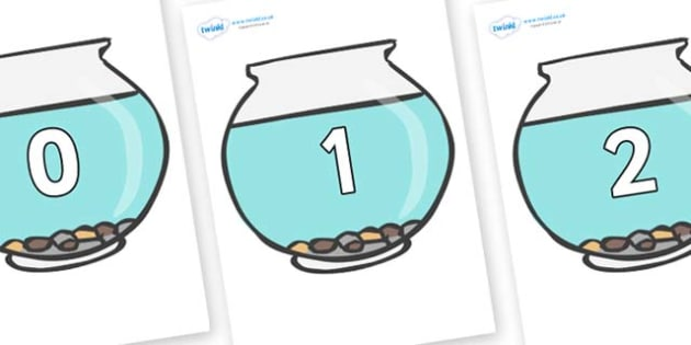 Numbers 0-50 on Fish Bowls - 0-50, foundation stage numeracy, Number recognition, Number flashcards, counting, number frieze, Display numbers, number posters