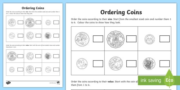 Ordering Coins Activity Teacher Made