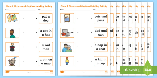 Phase 2 Pictures and Captions Matching Worksheets - phase 2
