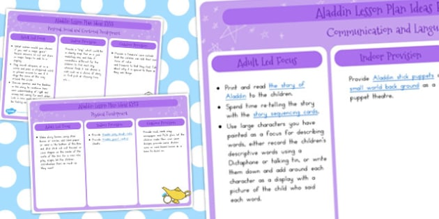 EYFS Aladdin Lesson Plan Ideas - lessons, plans, idea, activities