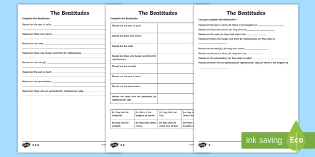 The Beatitudes Differentiated Worksheet Pack - Twinkl