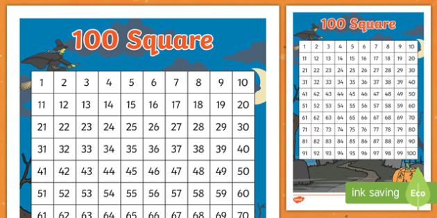 Halloween Themed 100 Number Square