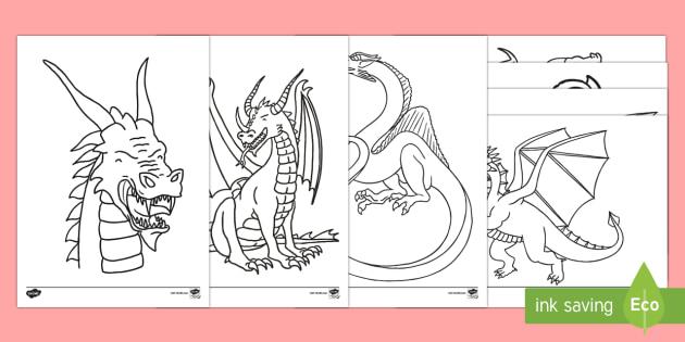 Dragon Coloring Sheets (teacher Made)