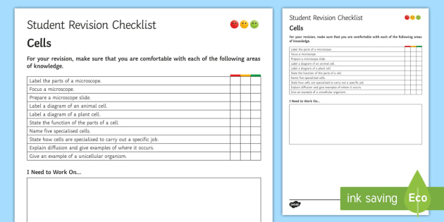 Cells Student Revision Checklist - Student Progress Sheet (KS3), cells, animal cell, plant cell, specialised cell, microscope