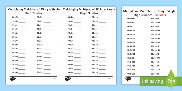 Multiplying Multiples of 10 by 1 Digit Numbers - A5 Worksheet