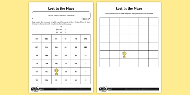 Finding 10 More Or Less Lost In The Maze Worksheet