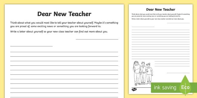 Dear New Teacher Worksheet / Worksheet - KS2 Transition Resources