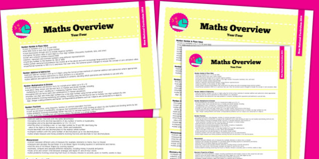 2014 National Curriculum Year 4 Maths Overview - new curriculum, plans