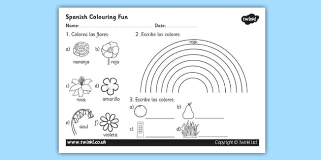 Colouring Activity Worksheet worksheets activities – Spanish Color Worksheets