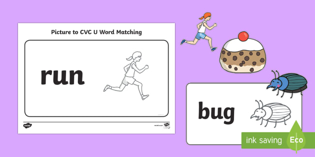 Workstation Pack:  Picture to CVC (u) Word Matching Activity