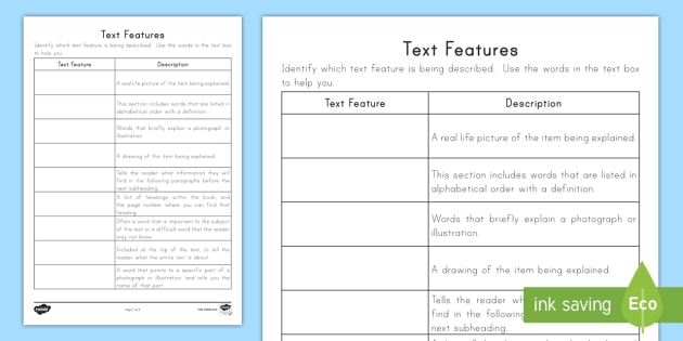 Quiz & Worksheet - Summary of Nonfiction Text Features | Study.com