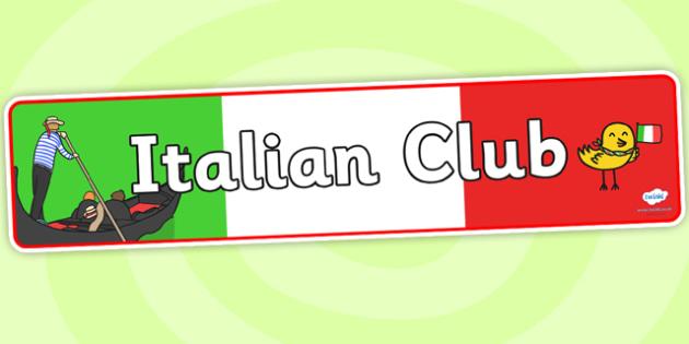 Italian Club Display Banner - italian club, display banner, banner for display, display, banner, header, header for display, header display, display header