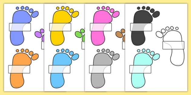 Editable Self Registration Labels (Footprints) - Self registration, register, handprint, footprint, editable, labels, registration, child name label, printable labels