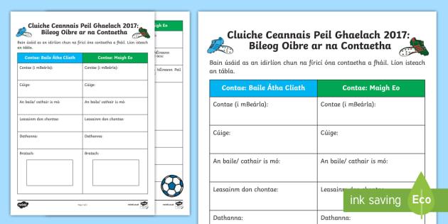 Cluiche Ceannais Peil Ghaelach 2017: Bileog Oibre ar na Contaetha Activity Sheet-Irish, worksheet