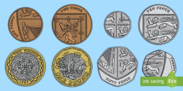 A4 British Coin Cut-Outs | Coins Display KS1 (teacher made)