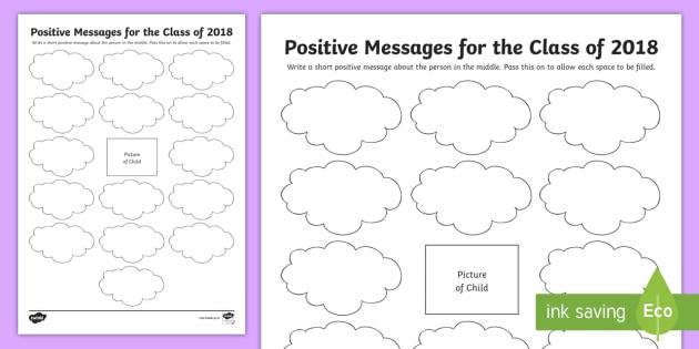 New Positive Messages For P7 Worksheet Transition Graduation