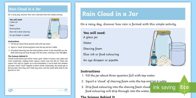 Make A Rain Cloud In A Jar Worksheet Activity Sheet Home