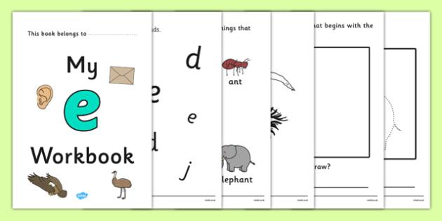 My Workbook e lowercase - workbook, e sound, lowercase, letters, alphabet, activity, handwriting, writing
