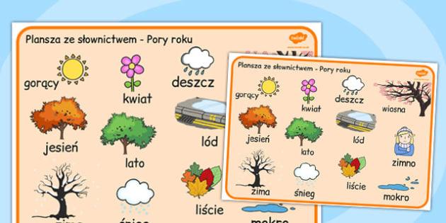 Plansza ze slownictwem Pory roku po polsku - nauczyciel, dzieci , Polish