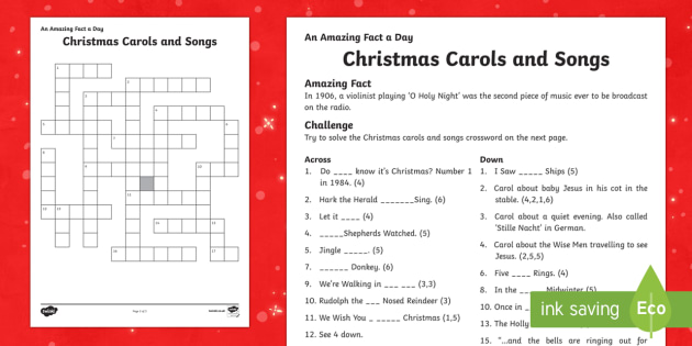 Amazing Fact a Day KS2 Countdown to Christmas Day 22 Christmas Carols Activity Sheet - Amazing Fact Of The Day, activity sheets, powerpoint, starter, morning activity, December, Christmas