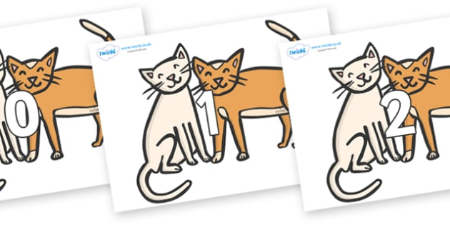 Numbers 0-50 on Cats - 0-50, foundation stage numeracy, Number recognition, Number flashcards, counting, number frieze, Display numbers, number posters