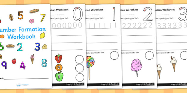 Number Formation Workbook Food - number, formation, food, write, overwriting