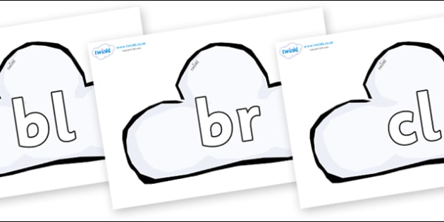 Initial Letter Blends on Weather Symbols (Cloud) - Initial Letters, initial letter, letter blend, letter blends, consonant, consonants, digraph, trigraph, literacy, alphabet, letters, foundation stage literacy