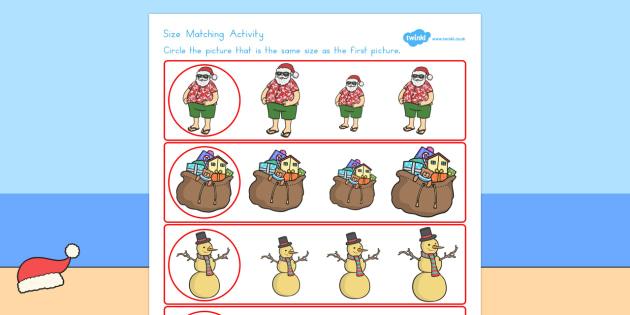 Christmas Themed Size Matching Worksheet - australia, christmas