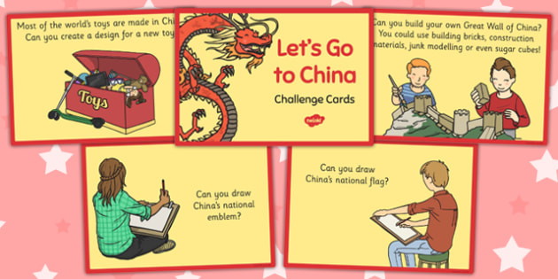 Let's Go to China Challenge Cards - challenge, cards, china