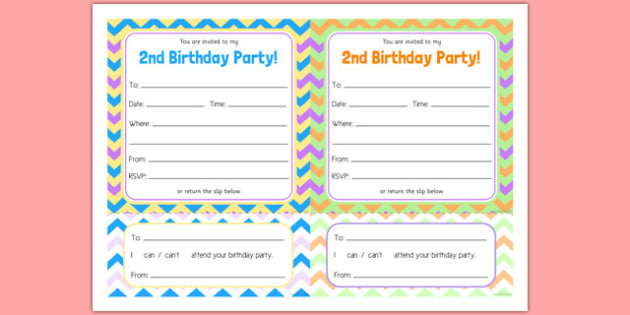 2nd Birthday Party Invitations - 2nd birthday, 2nd birthday party, party, invitations, new parents, one year old, baby
