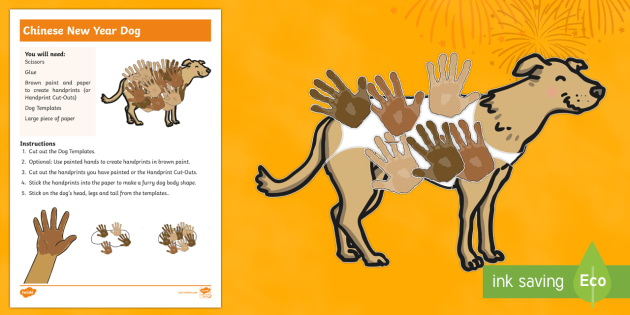 Chinese New Year Dog Handprint Craft Instructions Chinese New Year