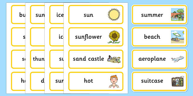 Summer Word Cards - summer, seasons, word cards, keywords, words