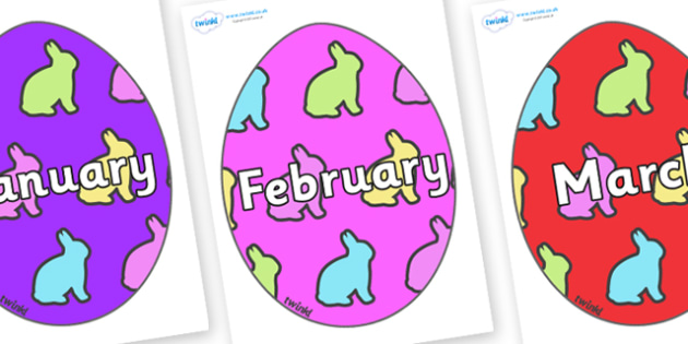 Months of the Year on Easter Eggs (Rabbit) - Months of the Year, Months poster, Months display, display, poster, frieze, Months, month, January, February, March, April, May, June, July, August, September