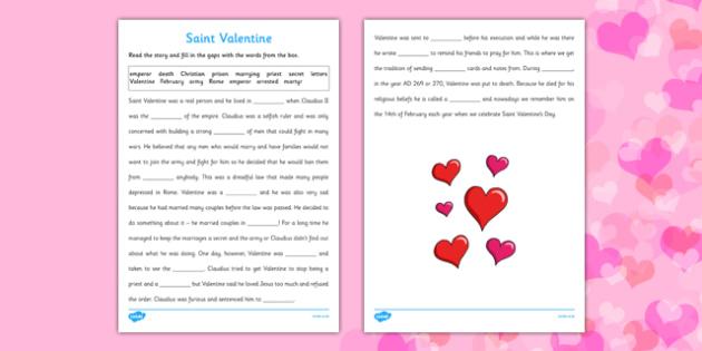 saint valentine cloze with word bank worksheet activity sheet. Black Bedroom Furniture Sets. Home Design Ideas